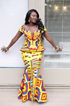 "Cuts of Kente wedding dress styles brings out true beauty and sensuality of each woman, as she fulfills her title as an ""African Queen. Latest African Fashion Dresses, African Dresses For Women, African Print Dresses, African Print Fashion, African Attire, African Wear, African Women, Ghana Dresses, Kente Dress"