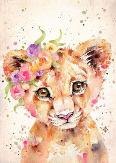 Water Colour Animals Trending poster prints by Sillier Than Sally Poster Color Painting, Lion Painting, Easy Water Colour Painting, Watercolor Animals, Watercolor Paintings, Tattoo Aquarelle, Baby Animal Drawings, Animal Posters, Colorful Paintings