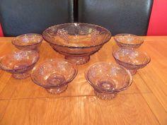 Lovely Purple Glass Trifle Fruit  Dessert  Bowl Set 7 pieces ,decorated grapes