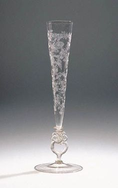 Flute Glass: Netherlandish or German, late 1500s or early 1600s Free-blown colorless (slightly pink) glass with diamond-point engraving: