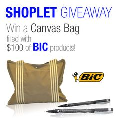 #WIN a canvas bag filled to the brim with $100 worht of bic products! Repin, then go to our blog and leave us a comment letting us know where you'd use this literature display :) Good luck! #GIVEAWAY