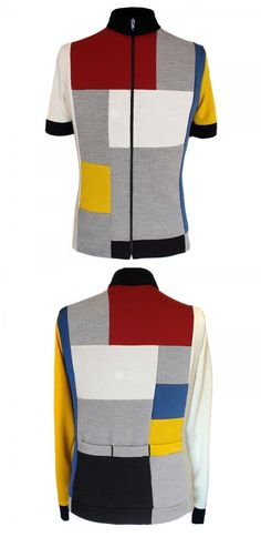 Greg traditional jersey Mondrian inspired with numerous merino wool panels, short or long sleeve, by Cima Coppi