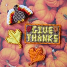 """Plastic Canvas: Mini Magnets -- """"Give Thanks"""" Thanksgiving Magnets (set of 4 -- turkey, 2 leaves and sign) by ReadySetSewbyEvie on Etsy"""