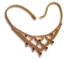 Sale!!  Rhinestone Crystal Bridal Necklace. Vintage Necklace Bib Choker Crystal Clear Rhinestone Fuschia Pink Gold Tone WOW!, Free Shipping by colorsofthesouthwest. Explore more products on http://colorsofthesouthwest.etsy.com