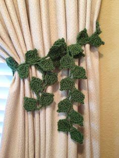 Crochet Curtian Tiebacks - 1 pair hunter green by JinesCrafts on Etsy