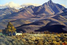 Ted Hoefsloot - Landsapes (various) Landscape Drawings, Cool Landscapes, Landscape Art, Landscape Paintings, Africa Painting, South African Artists, Local Artists, Lovers Art, Ted