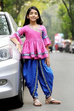 #pink #Blue #Traditional #Dhoti Set #Ethnic #festive #girl #fashion #trendy #beauty