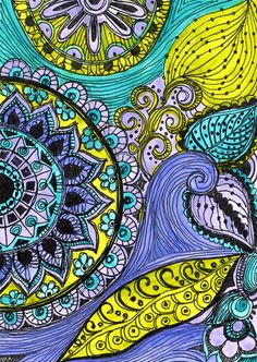 Fine art PRINT Reproduction purple green blue TITLE- AVANI meaning Earth in sanskrit. The listing is for a fine art print of my original ink and Doodles Zentangles, Zentangle Patterns, Zen Doodle, Doodle Art, Use E Abuse, House Color Schemes, Tangle Art, Flower Art, Line Art