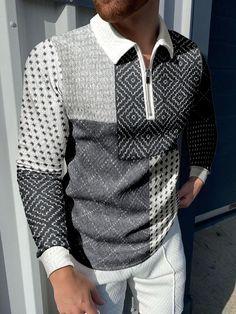Fashion Art, Spring Fashion, Linen Tshirts, Printed Shirts, Men Sweater, Men Casual, Man Shop, Autumn, Sleeves