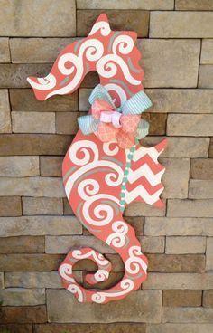 Items similar to Hand Painted Sea Horse Door Hanger on Etsy Wooden Door Signs, Front Door Signs, Front Door Decor, Wooden Doors, Porch Signs, Front Doors, Wood Signs, Burlap Crafts, Wooden Crafts
