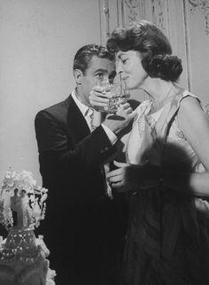 jason robards & lauren bacall sharing champagne at their wedding, 1961