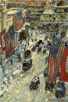 Flags on 57th Street, Winter - Childe Hassam