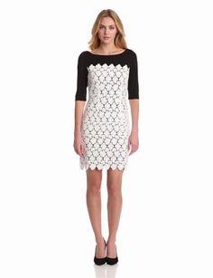 Suzi Chin Womens Lace Overlay Sheath Dress, Black/White, 16 coupon  gamesinfomation.com