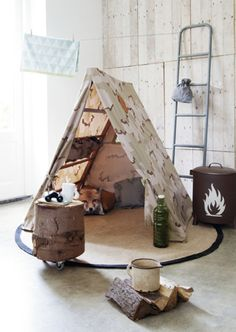 Boys tent at home