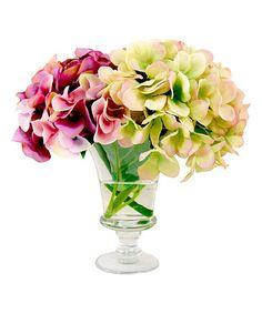 Look at this #zulilyfind! Lavender & Green Hydrangea Arrangement & Glass Urn #zulilyfinds