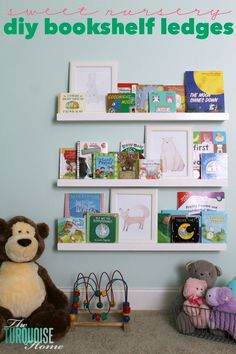 """I've had these simple DIY ledges on my to-do list forever. Now thatI finally finished then in Baby G's room,Iimmediately thought, """"why in the world did it take me this long!?!?"""" They were so simple; I love the price; and they make such a huge impact. Perfect for storing books on an empty wall in ... Read More about  DIY Bookshelf Ledges for the Nursery"""