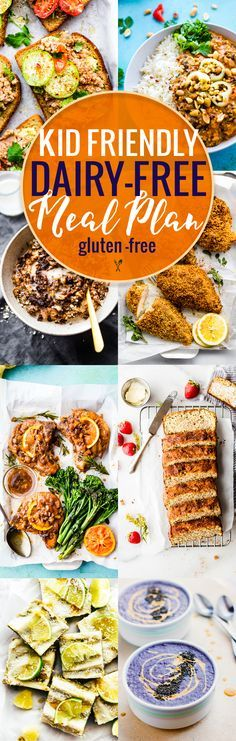 This kid friendly dairy-free meal plan is full of delicious back to school recipes that kids love! All of these kid friendly recipes are healthy,gluten free AND dairy free, making life a little less stressful for parents of kids who have food allergies. www.cottercrunch.com