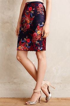 quinn lace and floral pencil skirt #anthrofave