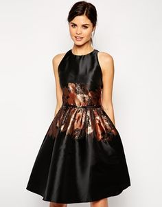 Little Mistress Skater Dress With Printed Floral Waist