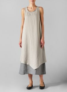 Linen Gray Double Layered Long Dress