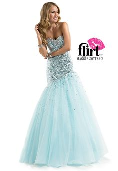 Temperatures rise on and off the dance floor in this sequin fit-and-flare dress! #pastel #blue #prom