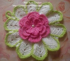 Pink Rose Hotpad free crochet graph pattern