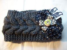 Women's Knit Polka Dot Heart Head Ear Warmer Seattle Seahawks NFL Football Crochet Headband (18.00 USD) by BadCatCraft