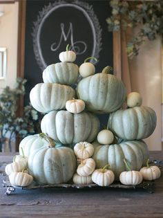 Grey heirloom stacked pumpkins