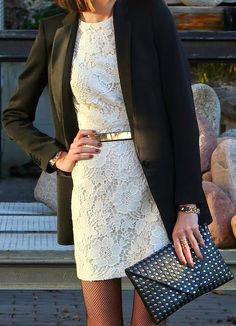 Black Blazer with White Lace dress and Leather St...