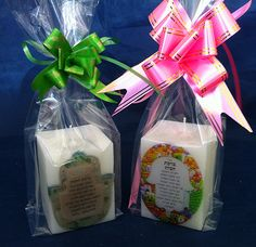 Natural soaps and decorative handmade candles.