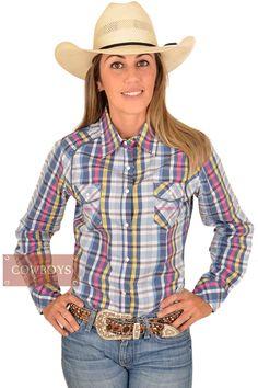 Camisa Feminina Cowgirl Up Xadrez Azul 4eabeaadc51