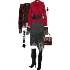 Luxe western inspired fall winter fashion in red black featuring a Polo Ralph Lauren fringed leather midi asymmetric skirt, red silk ruffle blouse, fringed tartan bolero jacket, fringed tall boots, fringed lambskin leather gloves #western #leatherskirt #leather #fringe #fringed #fringedjackets #fringeskirt #silk #bag #mini #gloves #Boots #black #red Polyvore featuring Valentino, Balmain, Yves Saint Laurent, Les Petits Joueurs, Karl Lagerfeld, Gucci and Diane Von Furstenberg