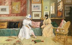 A Friendly Call by William Merritt Chase - Handmade Oil Painting on Canvas - American Paintings — Canvas Paintings Art Gallery, National Gallery Of Art, Long Island, American Impressionism, Famous Artwork, Luminous Colours, Call Art, Portraits, Japanese Prints