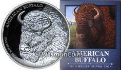 Tuvalu 2014-P American Buffalo Bison Portrait $1 Ultra High Relief Medallic Pure Silver Dollar Proof Piedfort