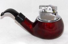 Vintage Pipe-Shaped Cigarette Lighter, Made In Japan.