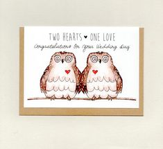 Items similar to 2 HEARTS 1 LOVE . CUSTOMISE with couples names . custom wedding card on Etsy Anniversary Cards, Wedding Anniversary, Sympathy Cards, Greeting Cards, Congratulations On Your Wedding Day, Wedding Day Cards, Marriage Cards, Owl Card, Valentine's Day