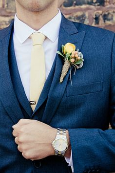 Navy suit and yellow tie | www.onefabday.com