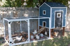 When this family spotted a coop they liked for $600, they decided to make their own version at a fraction of the cost. Its hinged door folds outward, making it easy to reach in and grab eggs. Get the tutorial at Housewives of Riverton. - CountryLiving.com