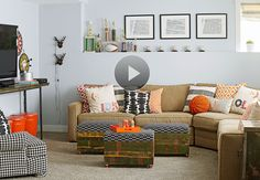 Make your basement family room the place where everyone will want to hang out. Plus, see how to pack it with sneaky and clever storage solutions that will keep clutter at bay.