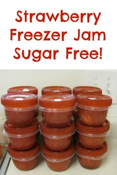 Delicious Sugar Free Strawberry Freezer Jam This recipe is super simple and easy for sugar free homemade strawberry freezer Jam Sugar Free Strawberry Jam, Strawberry Freezer Jam, Sugar Free Jam, Strawberry Jam Recipe, Freezer Jam Recipes, Jelly Recipes, Canning Recipes, Freezer Meals, Homemade Jelly