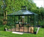 """""""A space for your own backyard getaway. This German-designed Teehaus Pavilion with an attractive, multifunctional structure is great for the modern backyard."""" I'd like to have something like this for my kitties :) Best Greenhouse, Greenhouse Plans, Greenhouse Wedding, Greenhouse House, Indoor Playhouse, Build A Playhouse, Outdoor Rooms, Outdoor Gardens, Outdoor Dining"""