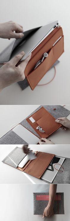 一个简约的电子设备毛毡皮套设计,可以装iPad平板电脑-三星Galaxy Tab手机-cloudandco设计师作品封面大图