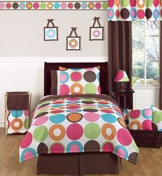 Deco Dot Modern Teen Bedding 3pc Full / Queen Set by Sweet Jojo Designs by Sweet Jojo Designs. $99.99. Dimensions: Lightweight Comforter - Full/Queen (86in x 86in), Standard Shams (20in x 26in). Color palette includes hot pink, bubble gum pink, turquoise, lime green, orange and chocolate brown.. 3 Piece Bedding Set: 1 Lightweight Full/Queen Comforter, 2 Standard Shams. Featuries a sensational Sweet Jojo exclusive bright large dots print to create a modern yet playful l...