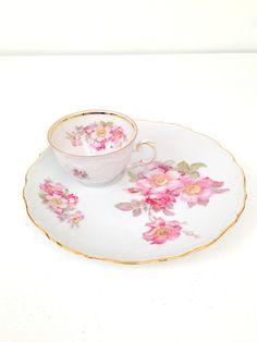 Vintage Porcelain Teacup and Luncheon Snack by MariasFarmhouse