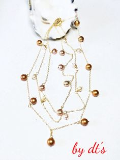 3 Layers Gold Necklace with Pearls
