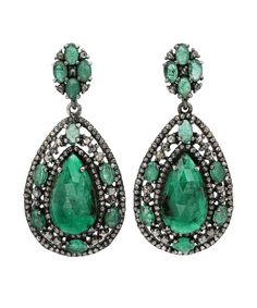 Bavna Sterling Silver Emerald Earrings Bluefly Com