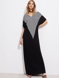 Shop V-neckline Striped Panel Kaftan Dress online. SheIn offers V-neckline Striped Panel Kaftan Dress & more to fit your fashionable needs.