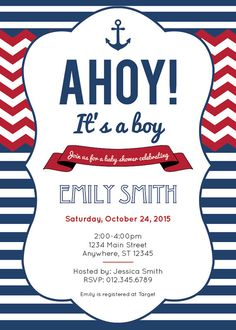 Nautical Baby Shower Invitation   Printable | Anchor Chevron Boy Baby Shower  Invite | Ahoy Itu0027s A Boy Baby Shower | Red And Navy Blue Invite