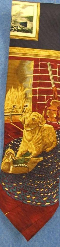 Neck Tie Fishing Lake Dog Burgundy/Green/Gold/Blue Wembley Silk #Wembley #NeckTie #mensfashion #eBay