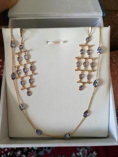 Subtle n Sleek necklace, earrings Bead Jewellery, Crystal Jewelry, Diamond Jewelry, Gold Jewelry, Beaded Jewelry, Gold Ruby Necklace, Gold Necklaces, Gold Earrings, Light Weight Gold Jewellery
